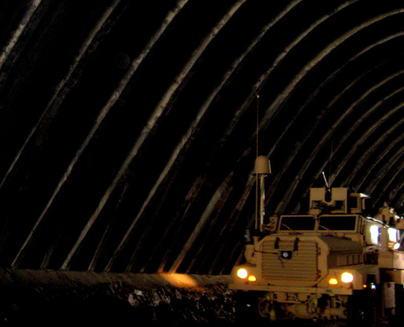 Military vehicle moving though Salang Tunnel