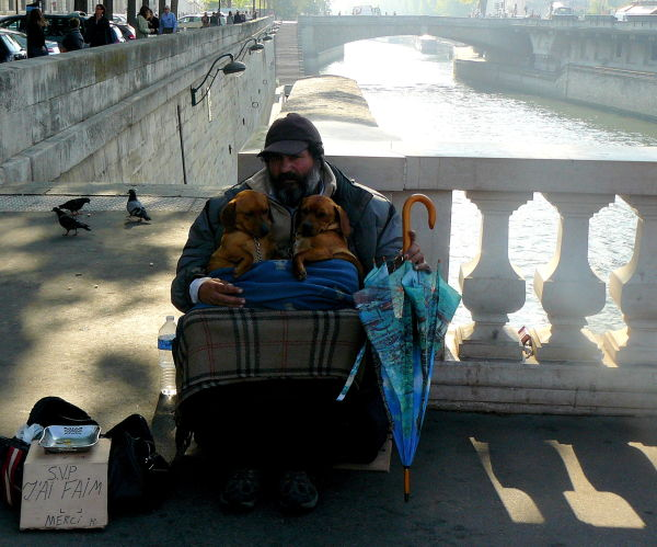 two dogs and a man, Paris