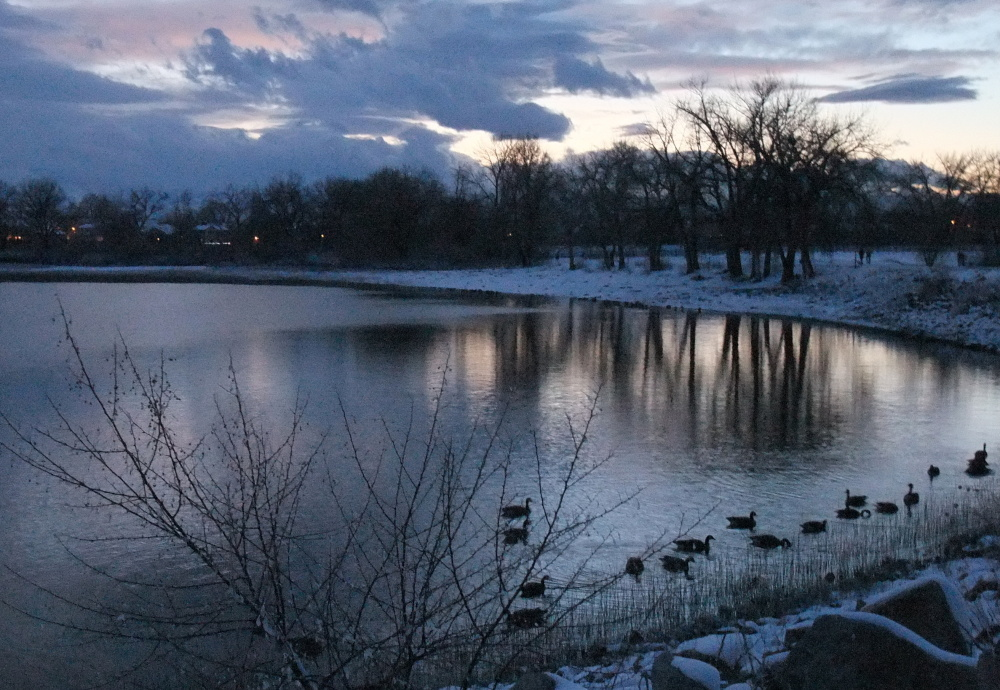 winter twilight, lake Waneka