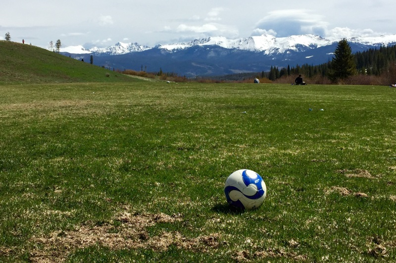 Football against mountain background