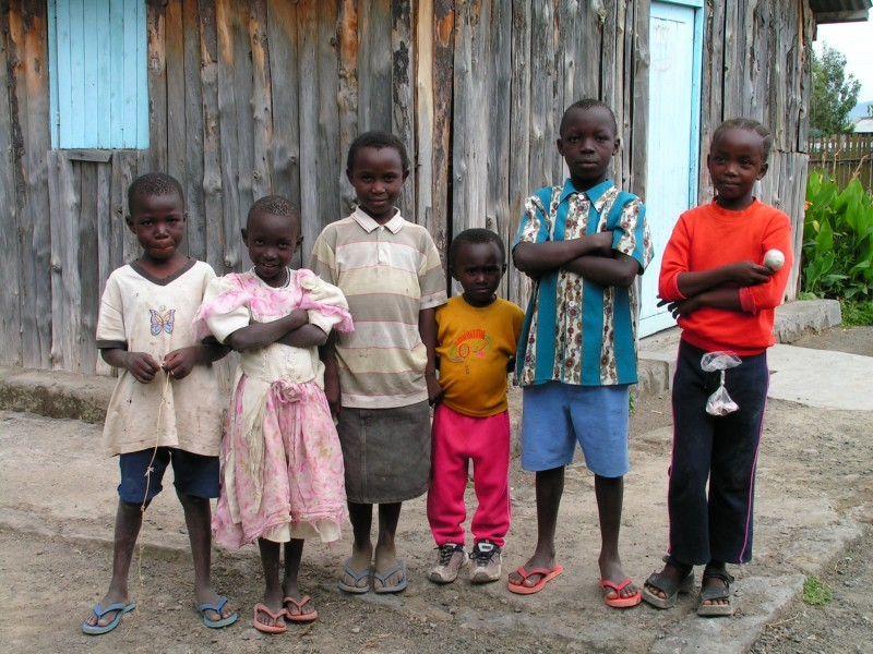 A group of kids in rural Nakuru church compound
