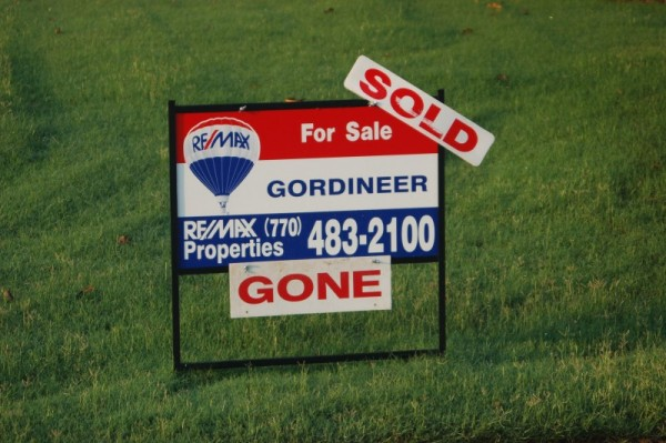 Sold sign at our house in Conyers
