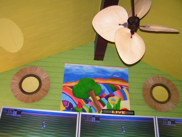 Inside a colorful Panama City restaurant.