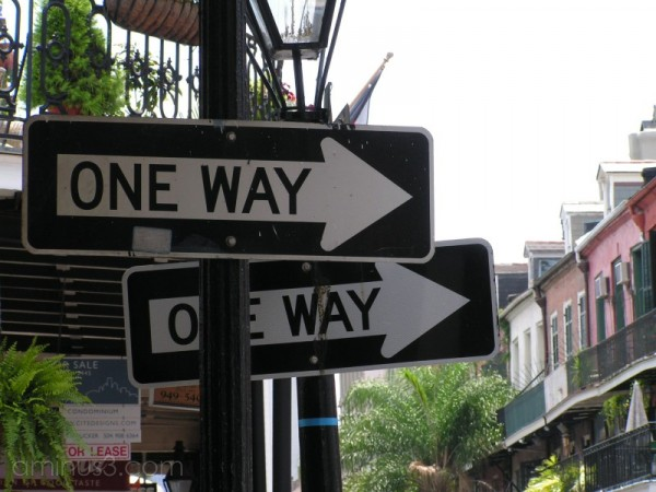 Two one way signs in the French Quarter