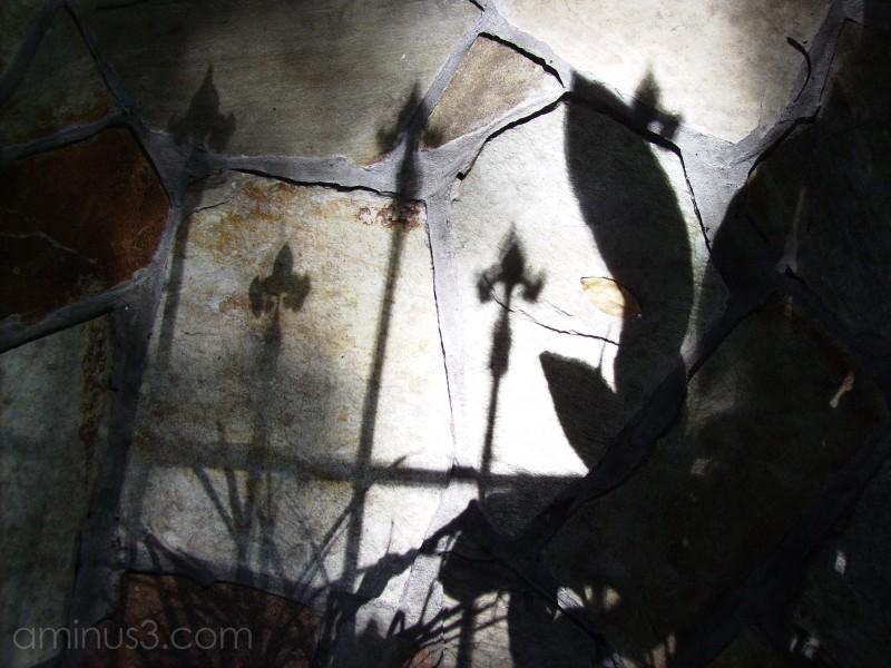 Shadows of the fleur di lis fence