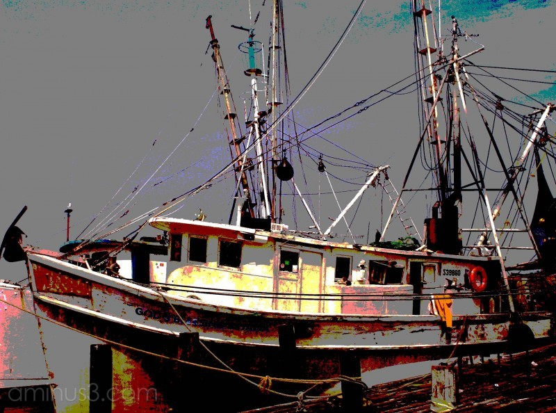 A posterized shrimp boat