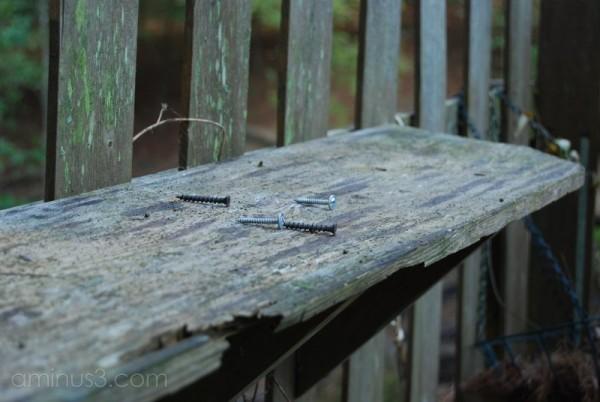 wood shelf with screws