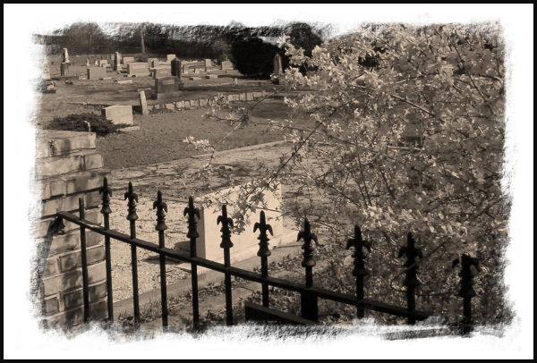 fence sepia cemetery
