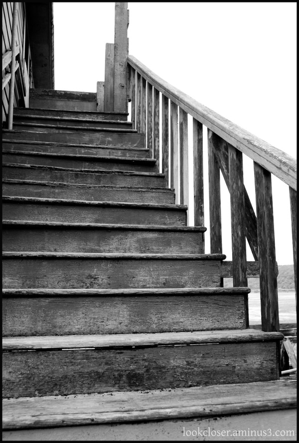 CA abandoned bar stairs BW