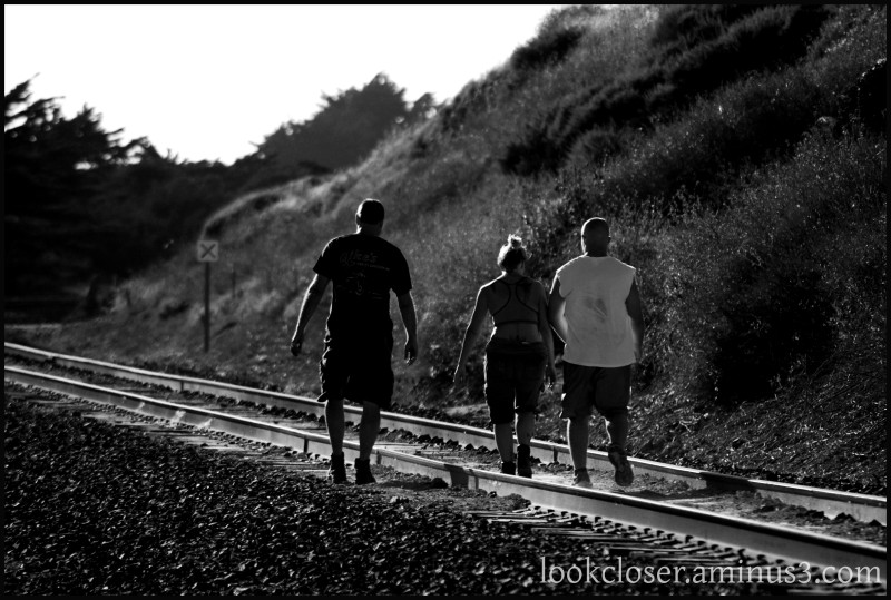 CA Hwy1 people RR bw