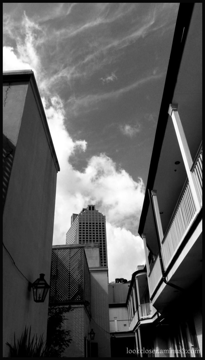NOLA French-Quarter buildings courtyard bw