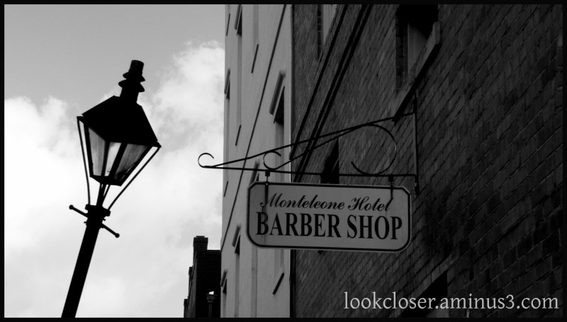 NOLA French-Quarter buildings barbershop bw
