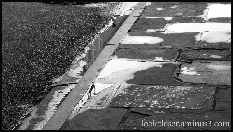 NOLA French-Quarter wet street bw