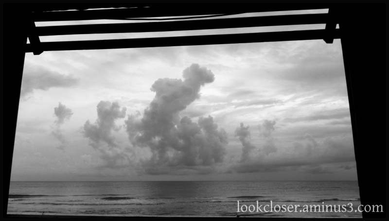 clouds storm sea horizon bw