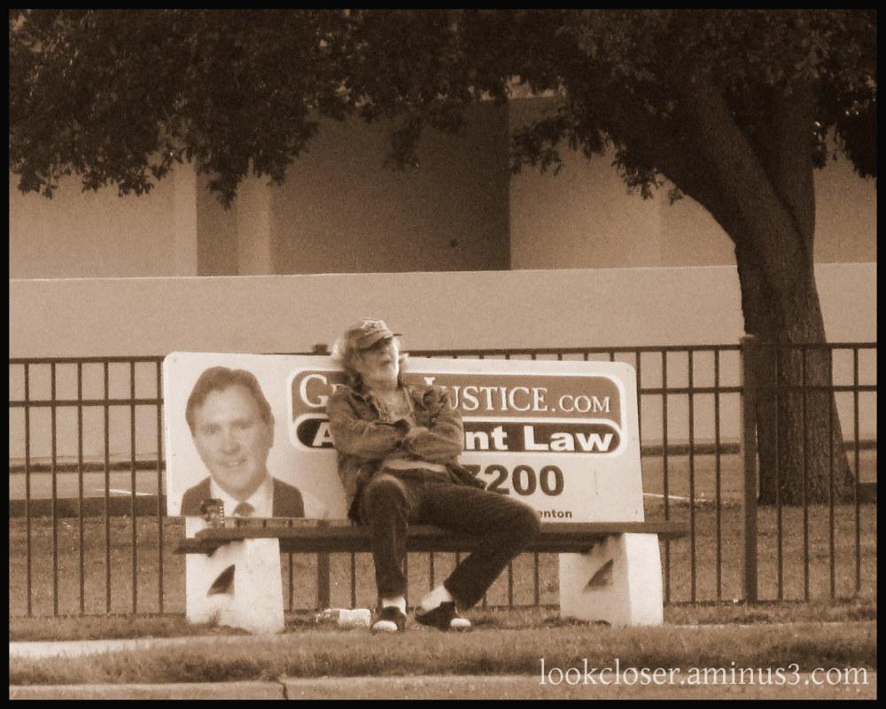 man bench sleep sepia