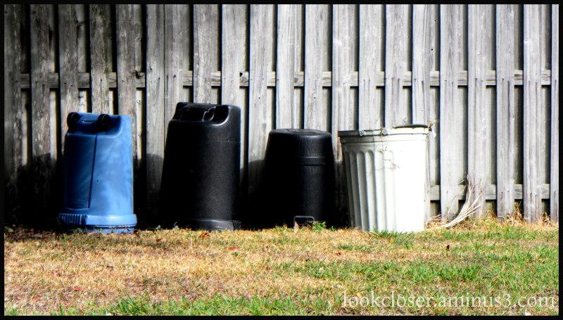 trash cans wood fence
