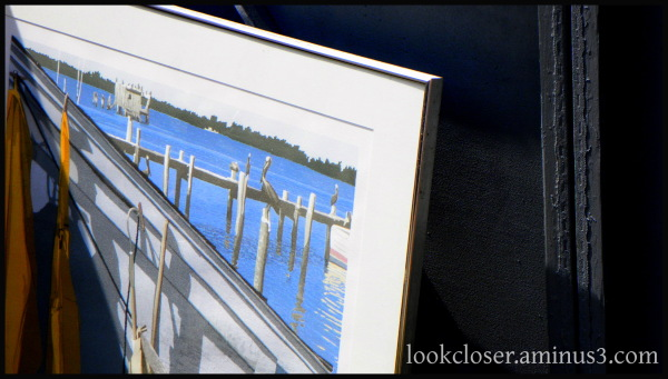 frame picture art pelican Florida water blue