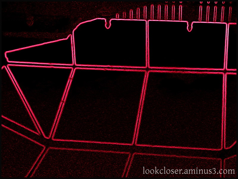 pool cage red neon lines