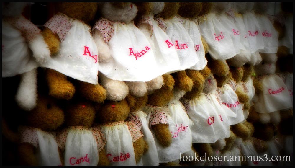 teddy bears bunnies dresses crowd