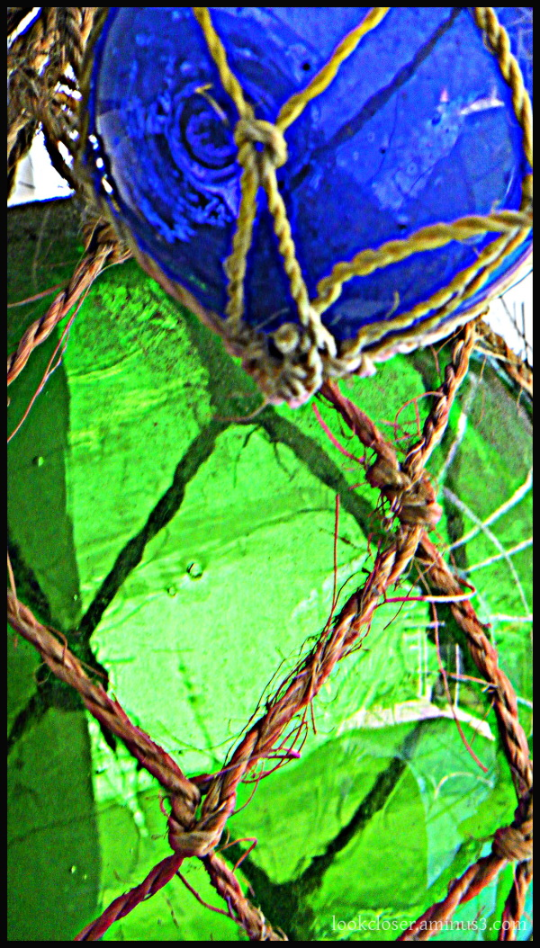 glass balls green blue rope knots hdr