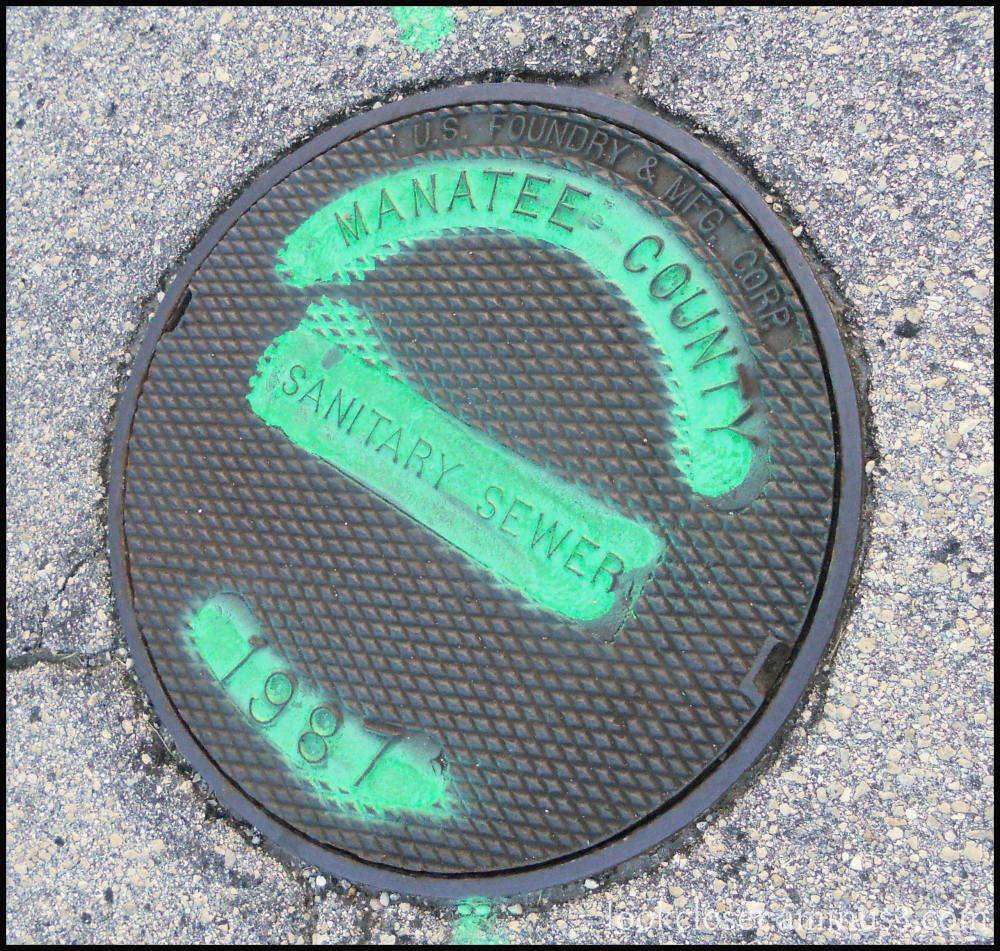 storm sewer cover green paint