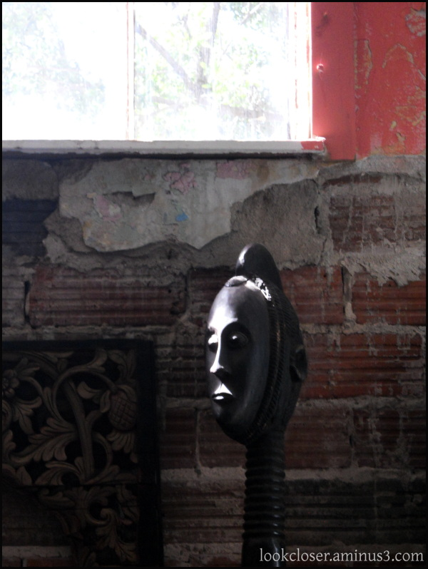 light African mask art window texture wall