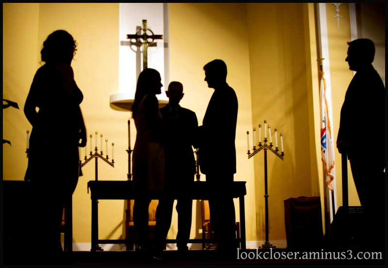 silhouettes Laurie Stephen wedding rehearsal