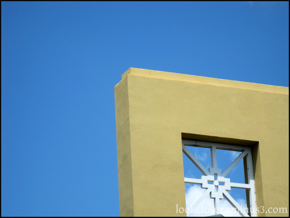 window geometry blue sky white clouds