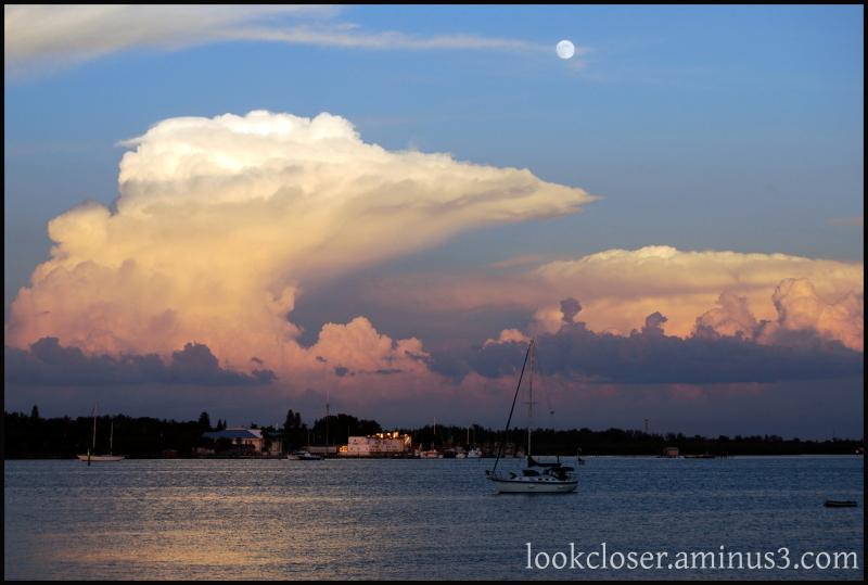 bay moon clouds sunset island