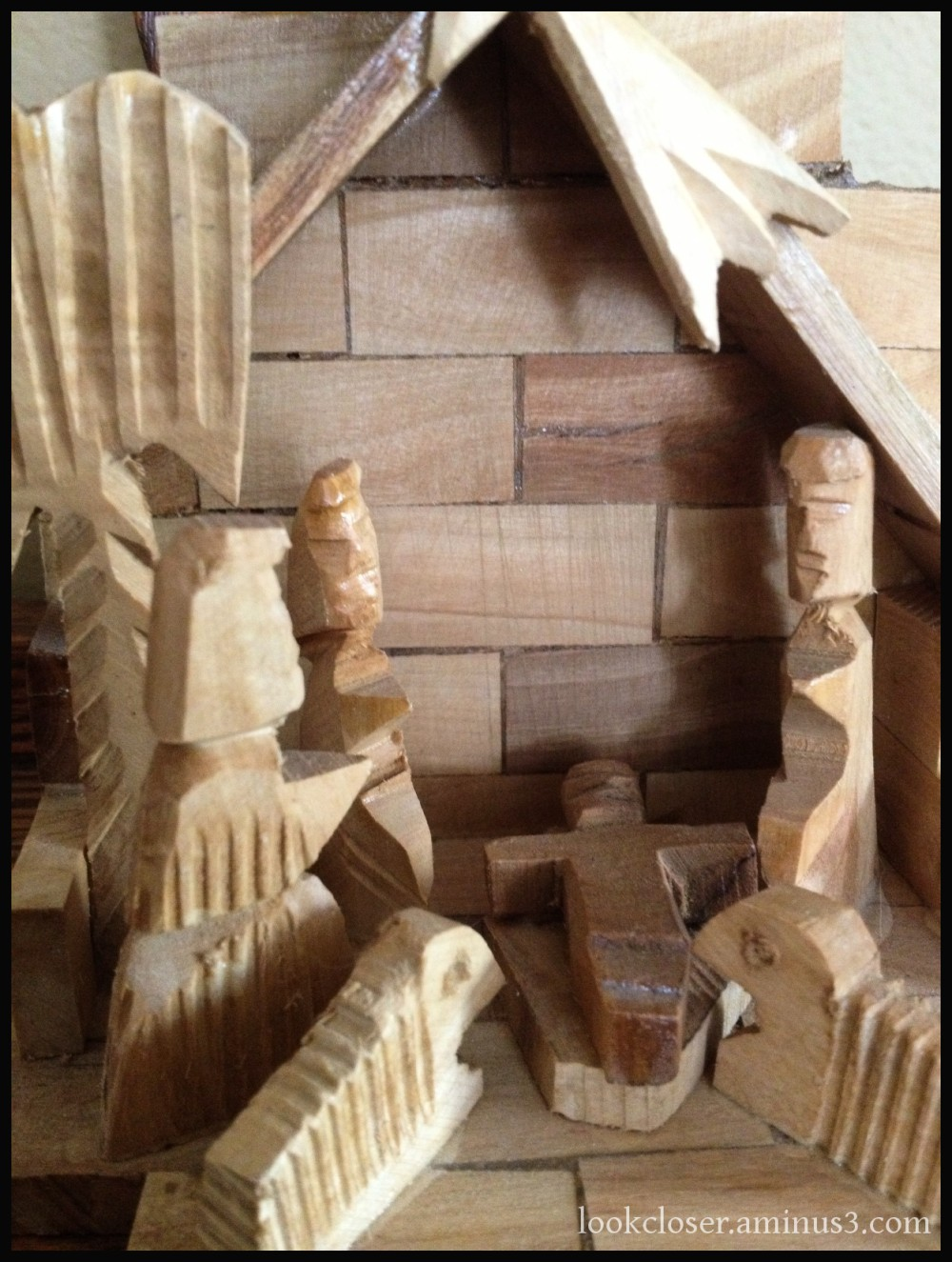 wood nativity creche