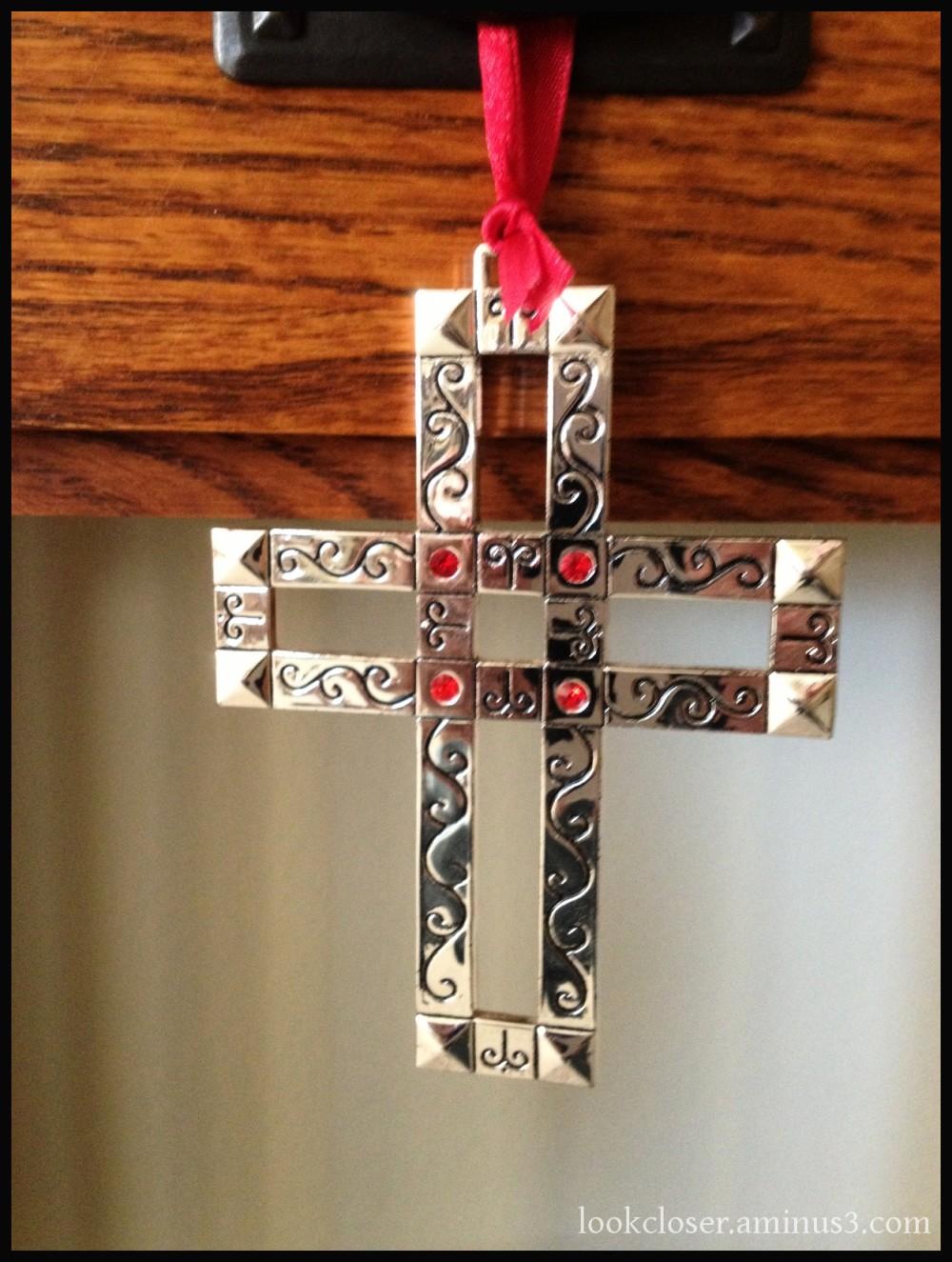 silver cross ornament