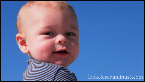 Wade baby blue sky smile