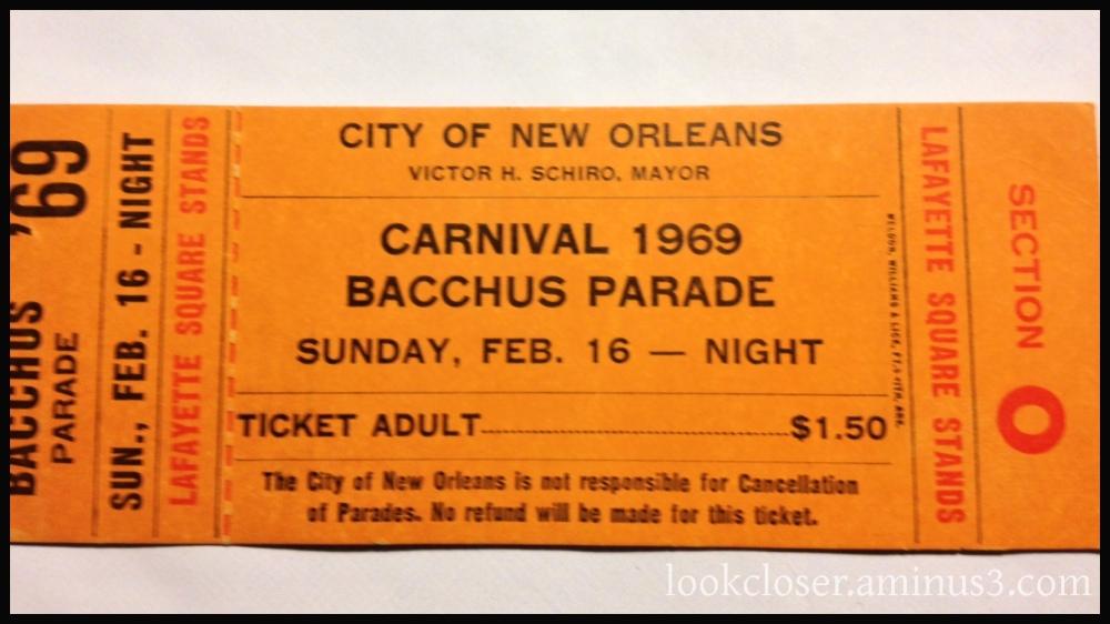 mardigras parade ticket 1969