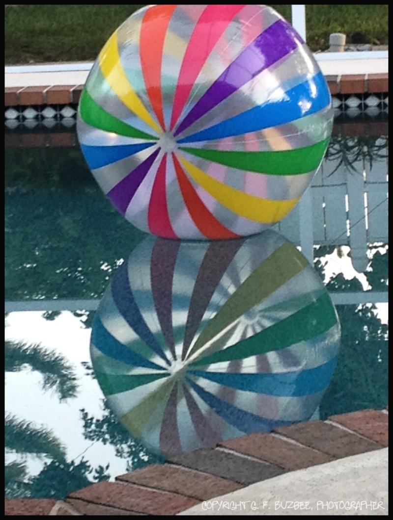 beach ball reflection home pool