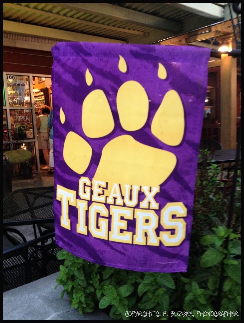 LSU banner purple gold