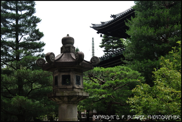 kyoto japan temple stone lantern