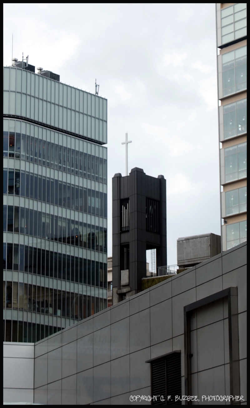 Kyoto business district Christian cross
