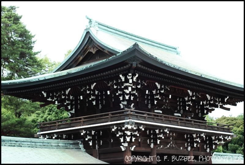 shinto shrine roofline tokyo japan
