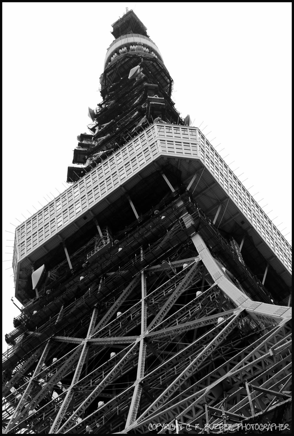 Tokyo tower Japan bw