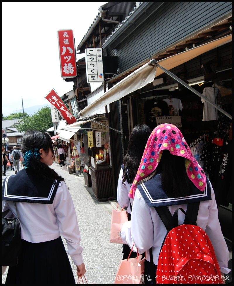 Kyoto students pedestrians polkadots