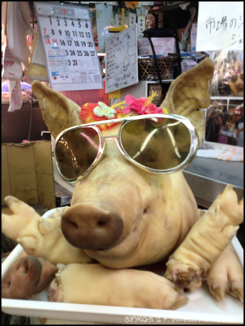 Naha Okinawa Japan fish pork market