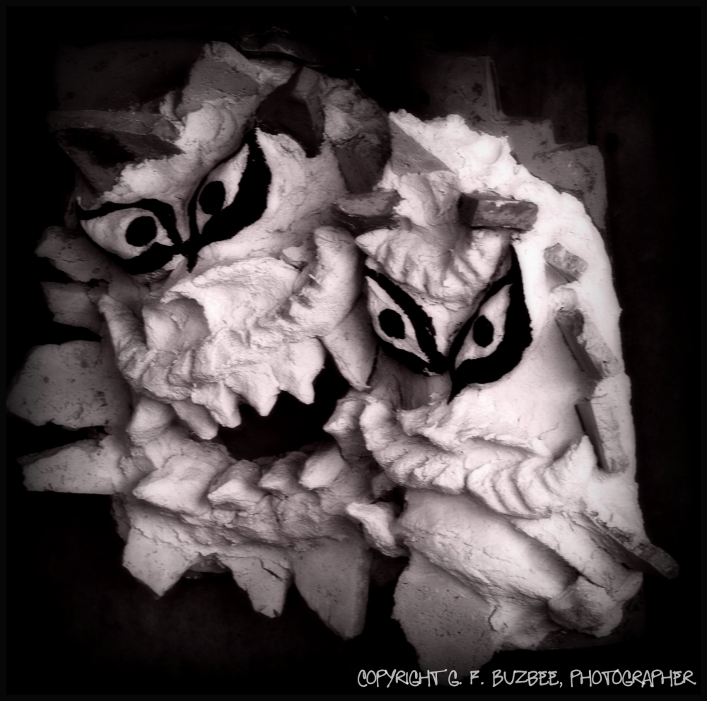 Halloween shisa mask bw effects