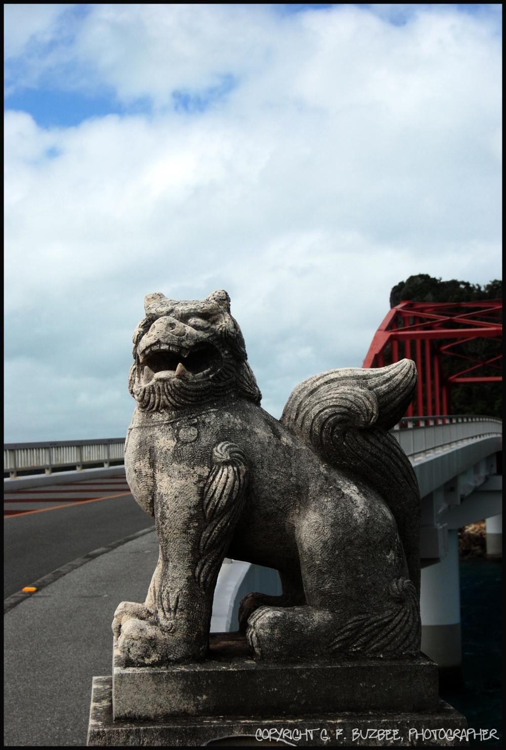 shisa dog statue bridge okinawa japan