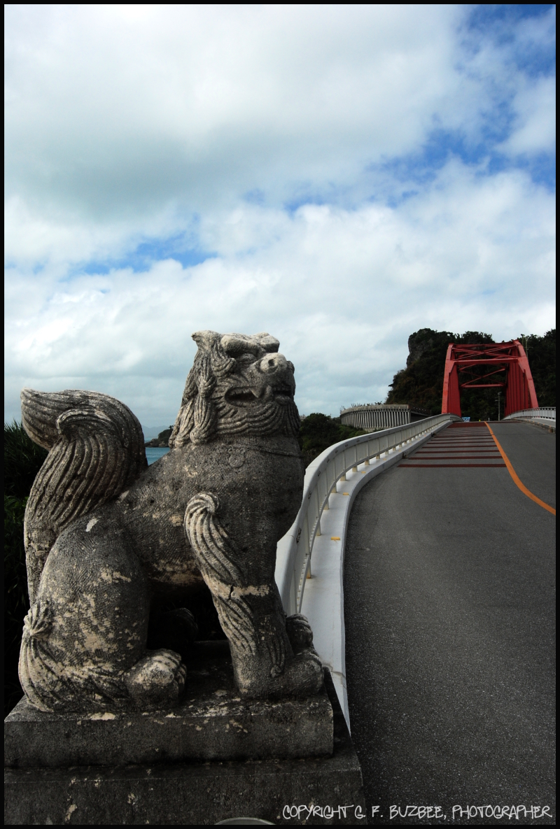 shisa dog statue bridge okinawa japan