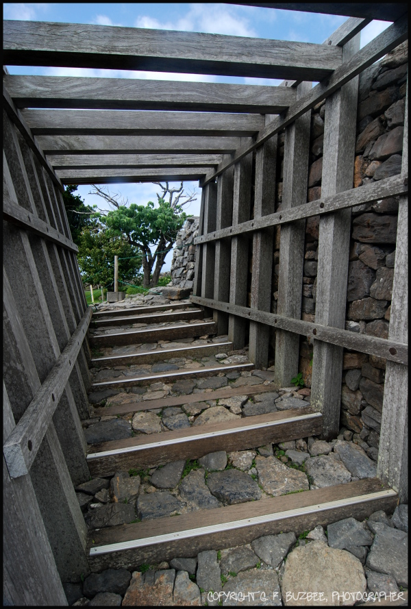 castle stone wood steps Okinawa