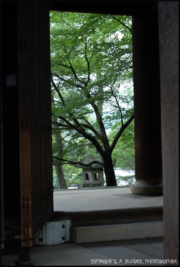 open door view Japan shrine