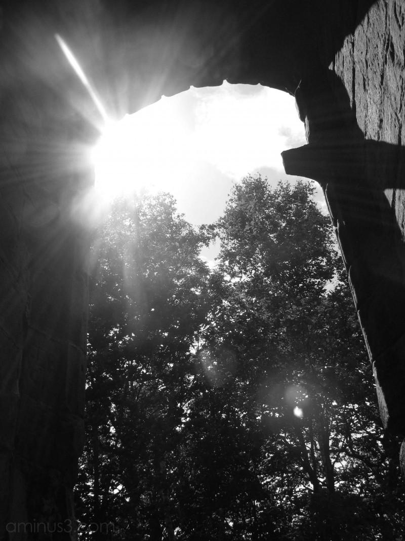 Sunshine through the window of Lydiate Abbey
