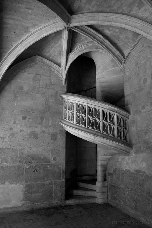 An old staircase in an old church in Paris