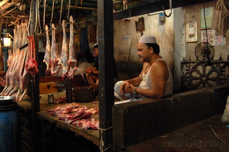 Butcher in New Market, Calcutta