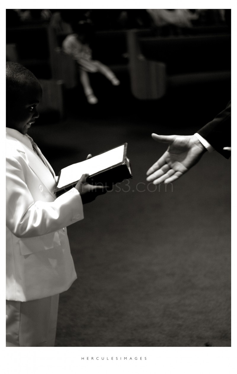 Boy with bible at a wedding